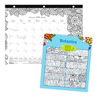 Blueline Botanica Colouring Monthly Desk Pad Calendar, 11