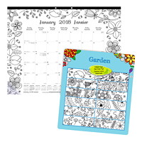 Blueline Garden Monthly Colouring Desk Pad Calendar, 22