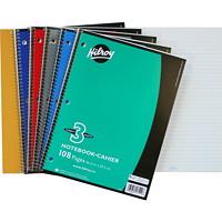 Cahier de notes 3 sujets à reliure spirale Hilroy, couleurs variées (aucun choix de couleurs offert pour les commandes sur livraison), 101/2po x 8po, 108 pages