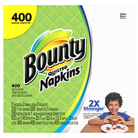 Bounty 1-Ply Quilted Napkins, White, 400/PK