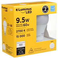 Luminus LED Lightbulb, A19, 9.5W, Non-Dimmable, Warm White, 2/Pk