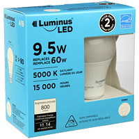 Luminus LED Lightbulb, A19, 9.5W, Non-Dimmable, Daylight, 2/Pk