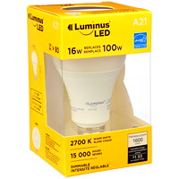 Luminus LED Lightbulb, A21, 16W, Dimmable, Warm White, 1/Pk