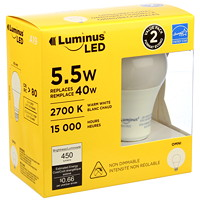 Luminus LED Lightbulb, A19, 5.5W, Non-Dimmable, Warm White, 2-Pk