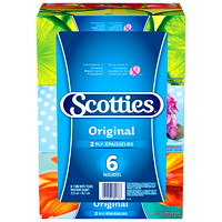 Scotties 2-Ply Original Facial Tissue, White, 126 Sheets/BX, 6/PK