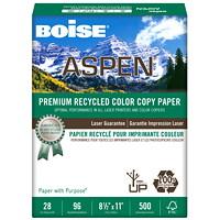 Papier pour impression couleur recyclé de qualité supérieure Aspen Boise, Poids : 28 lb, Format lettre, Caisse