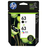 HP 63 (L0R46AN) Black and Tri-Colour (Cyan, Yellow, Magenta) Standard Yield Ink Cartridges, 2/PK