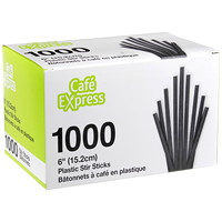 Bâtonnets à café en plastique Café Express, 6po, boîte de 1000