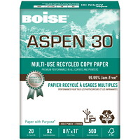 Boise Aspen 30 Multi-Use 3-hole punched White Recycled Copy Paper, FSC Certified, 20 lb.