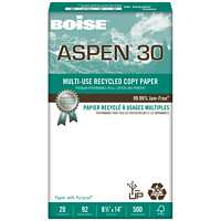 Boise Aspen 30 Multi-Use Recycled Copy Paper, 20 lb., Legal-Size, 500 Sheets/PK