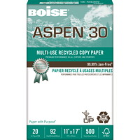 Boise Aspen 30 Multi-Use Recycled Copy Paper, FSC Certified, 20 lb., White, Tabloid-size (11