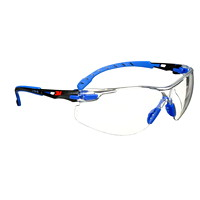 3M Solus 1000 Series Protective Safety Eyewear, Clear Lens with Scotchgard Anti-Fog Coating, Blue Frame