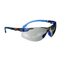 3M Solus 1000 Series Protective Safety Eyewear, Indoor/Outdoor Grey Lens with Scotchgard Anti-Fog Coating, Blue Frame