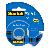 Scotch Wall-Safe Tape, Clear, 19 mm x 16.5 m, Single Pack