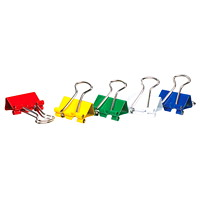 Grand & Toy Fold-Back Binder Clips, Assorted Colours, Micro Size, 1/4
