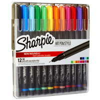 Sharpie Art Pens With Hard Case, Assorted Colours, Fine 0.8 mm, 12/PK