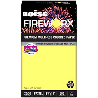 Boise Fireworx Pastels 30% Multi-Use Coloured Paper, Crackling Canary, FSC Certified, 20 lb., Legal-size (8 1/2