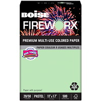 Boise Fireworx Pastels 30% Multi-Use Coloured Paper, Popper-Mint Green, FSC Certified, 20 lb., Tabloid-size (11