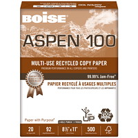 Boise Aspen 100 Multi-Use Premium Recycled Paper, 20 lb., Letter-size, 3-hole Punched, Ream