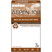 Papier recyclé de choix à usages multiples Aspen 100 Boise, 20 lb, Format légal, rame