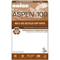 Boise Aspen 100 Multi-Use Premium Recycled Paper, FSC Certified, 20 lb., White, Tabloid-size (11