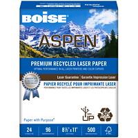 Papier 30 % recyclé haut de gamme pour imprimante laser Aspen Boise, Blanc, Certifié FSC, Poids : 24 lb, Caisse