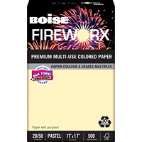 Boise Fireworx Pastels 30% Multi-Use Coloured Paper, Flashing Ivory, FSC Certified, 20 lb., Tabloid-size (11