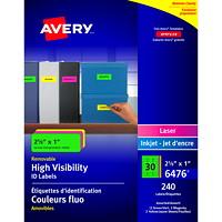 Étiquettes d'identification et de rangement polyvalentes amovibles de couleurs fluo Avery