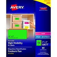 Avery 6477 High-Visibility Neon Removable ID Labels, 4