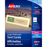 Avery Embossed Tent Cards, Ivory, 3 1/2
