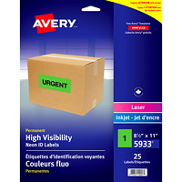 Avery 5933 Permanent High Visibility ID Laser/Inkjet Labels, Neon Green, 8 1/2