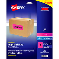 Avery Permanent High Visibility Neon ID Laser/Inkjet Labels