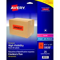 Étiquettes d'identification permanentes et voyantes en couleurs fluo pour imprimantes laser/jet d'encre Avery