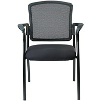 Eurotech Dakota2 Stackable Black Mesh Guest Chair With Arms