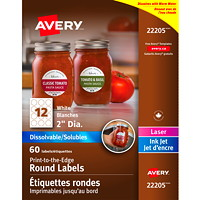 Avery Print-to-the-Edge White Dissolvable Labels