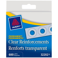 Avery Self-Adhesive Reinforcement Labels, Clear, 1/4