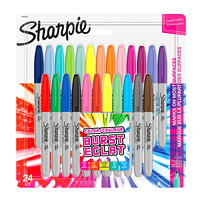 Sharpie Permanent Markers, Burst, Assorted Colours, Fine Tip, 24/PK