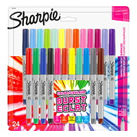 Sharpie Permanent Markers, Burst, Assorted Colours, Ultra Fine Tip, 24/PK