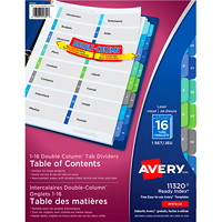 Avery Ready Index Double Column Customizable Table of Contents Dividers
