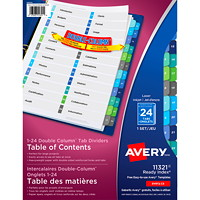 Avery Ready Index Double Column Customizable Table of Contents Dividers, Multi-Coloured, Numbered (1-24), 24 Tabs/ST, 1 Set/PK