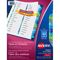Avery Ready Index Double Column Customizable Table of Contents Dividers, Multi-Coloured, Numbered (1-32), 32 Tabs/ST, 1 Set/PK