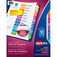 Avery Ready Index Customizable Table of Contents Dividers, Multi-Coloured, Numbered (1-12), Letter-Size, 12 Tabs/ST, 1 Set/PK