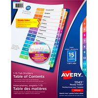 Avery Ready Index Customizable Table of Contents Dividers, Multi-Coloured, Numbered (1-15), Letter-Size, 15 Tabs/ST, 1 Set/PK