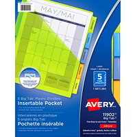 Avery Big Tab Pocket Insertable Plastic Dividers, White with Translucent Coloured Tabs, Letter-Size, 5-Tabs/ST, 1-Set/PK