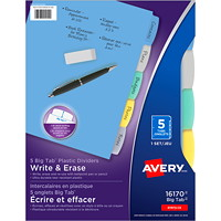Avery Big Tab Write & Erase Plastic Dividers, Multi-Coloured, Letter-Size, 5-Tabs/ST, 1-Set/PK