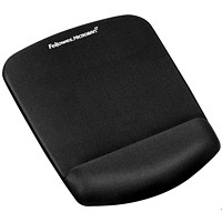 Fellowes PlushTouch Antimicrobial Mouse Pad Wrist Rest, Black