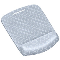 Fellowes PlushTouch Antimicrobial Mouse Pad Wrist Rest, Grey Lattice