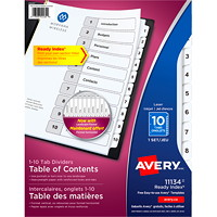 Avery Ready Index Customizable Table of Contents Dividers, Black and White, Numbered (1-10), Letter-Size, 10 Tabs/ST, 1 Set/PK