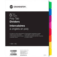 Grand & Toy Poly Tab Dividers, Multi-Coloured, Letter-Size, 8-Tabs/ST, 1-ST/PK
