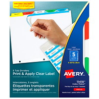 Avery Print & Apply Dividers With Easy Apply Labels, White With Multi-Coloured Tabs/Clear Labels, Letter-Size, 5-Tabs/ST, 5-Sets/PK
